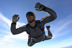 Skydiving photo. Student skydiver in freefall royalty free stock images