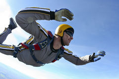 Skydiving photo. Student skydiver in freefall stock image