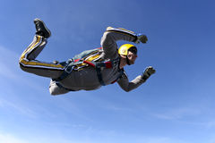 Skydiving photo. Student skydiver in freefall stock photo