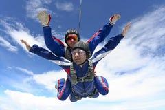 Skydiving photo. Tandem jump. Royalty Free Stock Photo