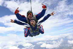 Skydiving photo. Tandem jump. Stock Image