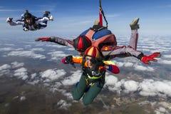 Skydiving photo. Tandem. Royalty Free Stock Photo
