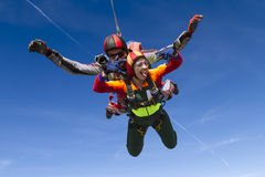 Skydiving photo. Tandem. Royalty Free Stock Image