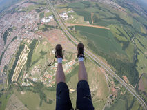 Skydiving point of view of my shoes untied Stock Image