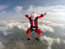 Skydiving Santa christmas Stock Image