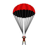 Skydiving school, academy illustration. Parachutist, extreme sport. Skydiver. Illustration for skydivers club, paragliding company Flat style Royalty Free Stock Images