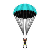 Skydiving school, academy set. Parachute pack, skydiver in flat. Skydiving school, academy illustration. Parachutist, extreme sport, skydiver. Illustration for royalty free illustration