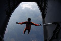 skydiving Skydiver skacze z samolotu Widok od samolotu zdjęcia royalty free