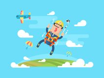 Skydiving sport flat Stock Images