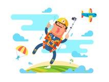 Skydiving sport flat Stock Photos