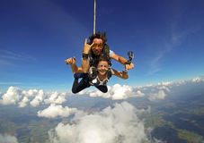 Skydiving tandem couple happy stock photo