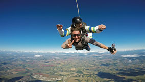Skydiving tandem friends smiling Stock Image
