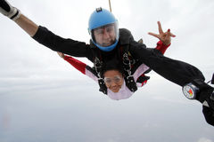 Skydiving tandem jump happiness Royalty Free Stock Photos
