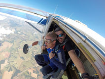 Skydiving tandem middle-aged man Stock Image