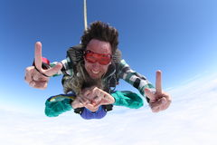 Skydiving tandem signs stock images