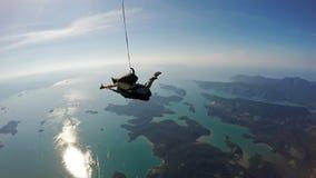 Skydiving tandemu szczęście zdjęcia royalty free