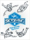Skydiving. Vector set - emblem and skydivers. Stock Photo