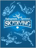 Skydiving. Vector set - emblem and skydivers. Royalty Free Stock Photography