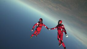 Skydiving video. The concept of active recreation.
