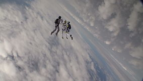 Skydiving video. A group of paratroopers in a free style free fall stock footage