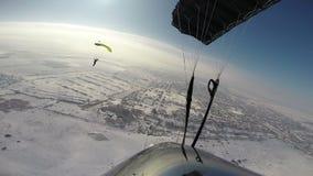 Skydiving Video. Winter skydiving. stock footage