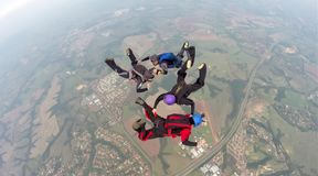 Skydiving 4 way team stock images