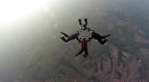 Skydiving 4 way team royalty free stock images