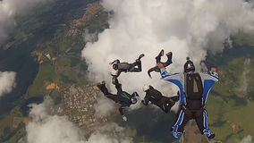 Skydivingsteam stock videobeelden