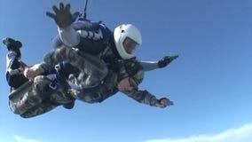 Skydivingsvideo tandem stock videobeelden