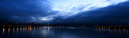 Skyine of Hangang River panorama Stock Images