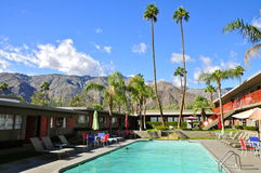 Skylark Hotel, Palm Springs. Outdoor pool with a view of Mount San Jacinto in the iconic 1955 Mid century Modern Skylark Hotel, Palm Springs CA royalty free stock image