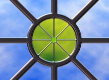 Skylight. Roof skylight with chrome framework and colored glas scentre royalty free illustration