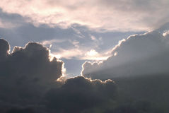 Skylight. Cumulus clouds with suns rays Royalty Free Stock Photos