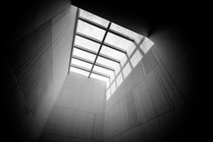 Skylight of art museum. In Black&white stock photo