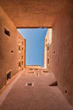 The skylight from bottom to top view of Kasbah de Taourirt with Royalty Free Stock Image