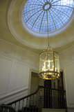 Skylight and chandelier. Hall with elegant skylight and chandelier Royalty Free Stock Photo