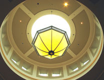 Skylight Chandelier. Round skylight with chandelier light at a mall stock images