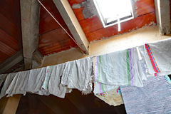 Skylight and cloths and rags hung out to dry Royalty Free Stock Photo
