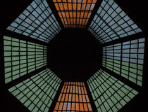 Skylight. Colored skylight of an old building in Bucharest, Romania Stock Photo