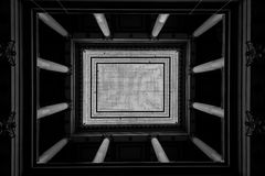 Skylight with Corinthian Pillars in French Town Hall Stock Images