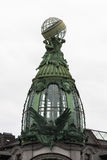 Skylight with an eagle on the roof of Singer House in Saint Petersburg.  Stock Photos