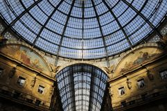 Skylight of Galleria Vittorio Emanuele Ⅱin milan Royalty Free Stock Photo