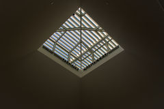 Skylight With Louvers. Low angle view of skylight with louvers from building interior. Blue sky visible beyond Stock Image