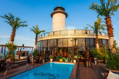 Skylight Nha Trang observation deck. NHA TRANG, VIETNAM - MARCH 14, 2018: Skylight Nha Trang observation deck in Premier Havana Hotel in Nha Trang city, south stock image