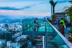Skylight Nha Trang observation deck. NHA TRANG, VIETNAM - MARCH 14, 2018: Skylight Nha Trang observation deck in Premier Havana Hotel in Nha Trang city, south stock photo