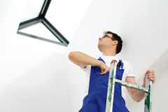 Skylights, professional company assembler. Stock Photos