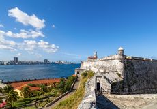 Skylin with the promenade Malecon view of Havana City - Serie Cuba Reportage.  Royalty Free Stock Images