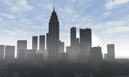 Skyline 3D render Royalty Free Stock Photo