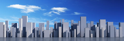 Skyline of a 3d town vector illustration