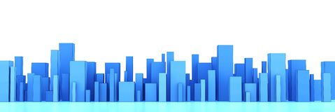 Skyline of a 3d town Royalty Free Stock Photography